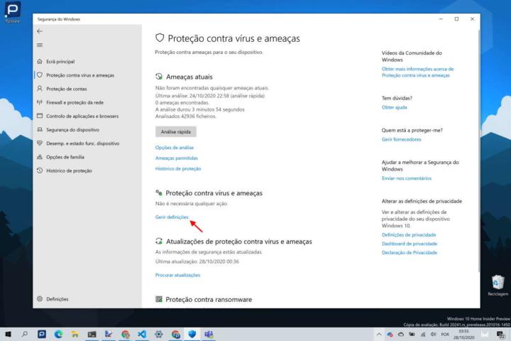 Windows 10 Windows Defender segurança tempo real
