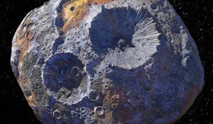 Imagem ilustração do asteroide Psyche que terá ouro, níquel