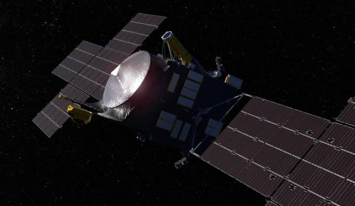 Ilustração da nave da NASA e SPACEX para viajar até ao asteroide Psyche