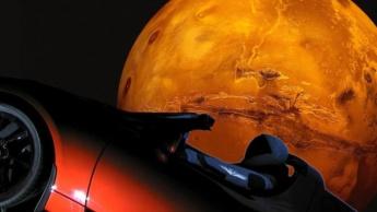 Ilustração Starman da SpaceX dentro do Tesla Roadster de Elon Musk