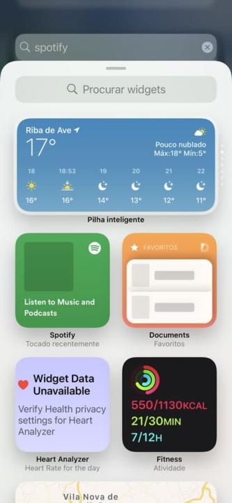 Imagem widget Spotify no iOS 14