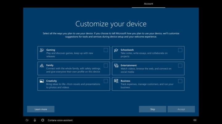 Windows 10 Microsoft instalação configurar perfis