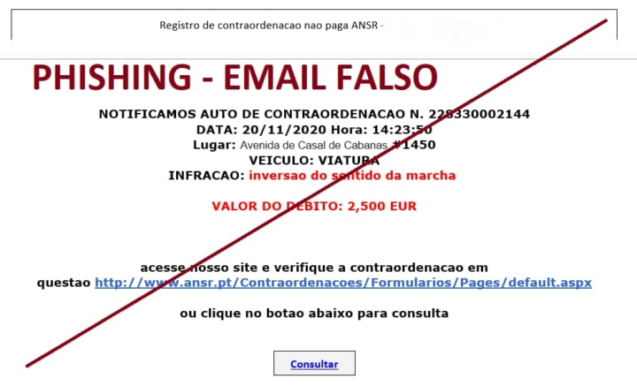 Atenção à mensagem para pagar uma contraordenação! É Phishing...