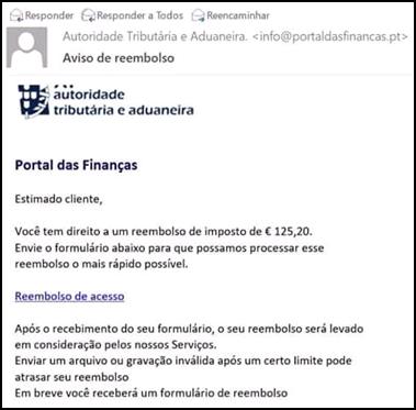 Alerta: Reembolsos das Finanças? É um e-mail fraudulento