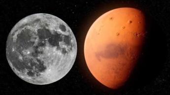 Ilustração de pedaços da Lua encontrado em Marte
