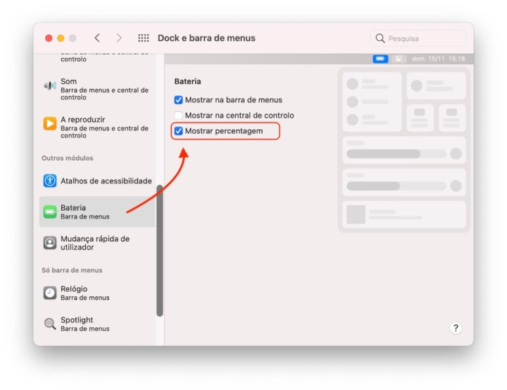 Imagem do menu Dock e barra de menu no Big Sur