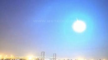 Imagem asteroide que entrou na atmosfera e passou a sul de Portugal como uma bola de fogo