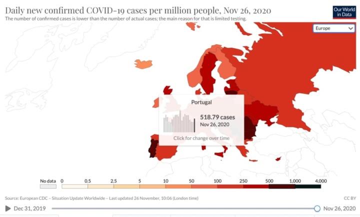 """COVID-19: Mapa de Portugal continua a vermelho """"carregado"""""""