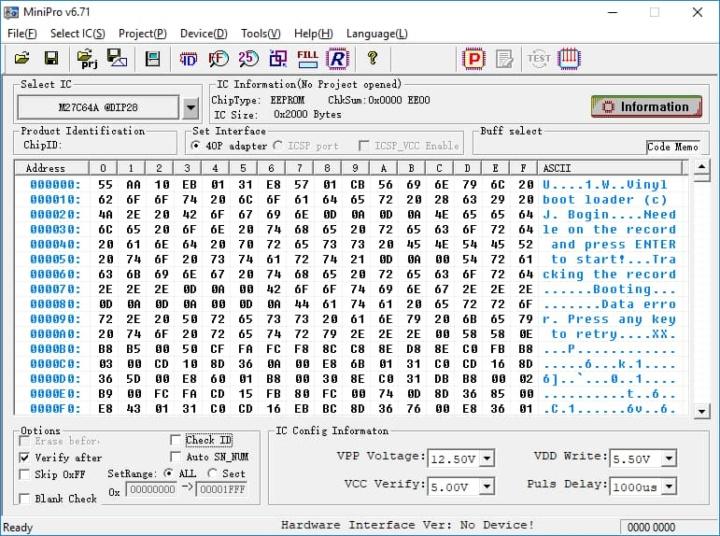 Imagem do código de carregamento do disco de vinil numa ROM