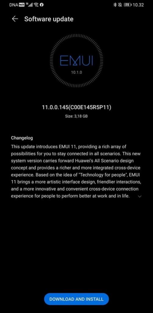 EMUI 11 Huawei Mate 30 Pro smartphones atualização