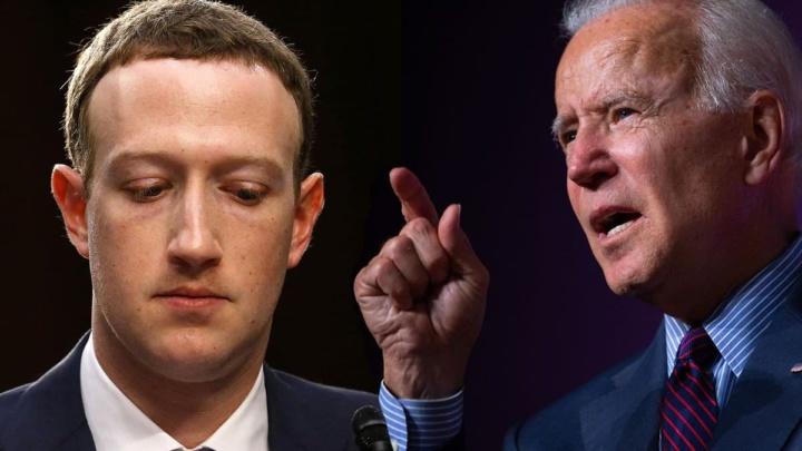 Ilustração de Joe Biden e Mark Zuckerberg, CEO do Facebook