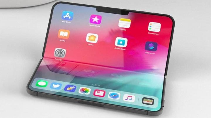 Imagem de conceito do iPhone dobrável, supostamente enviado para testes à Foxconn