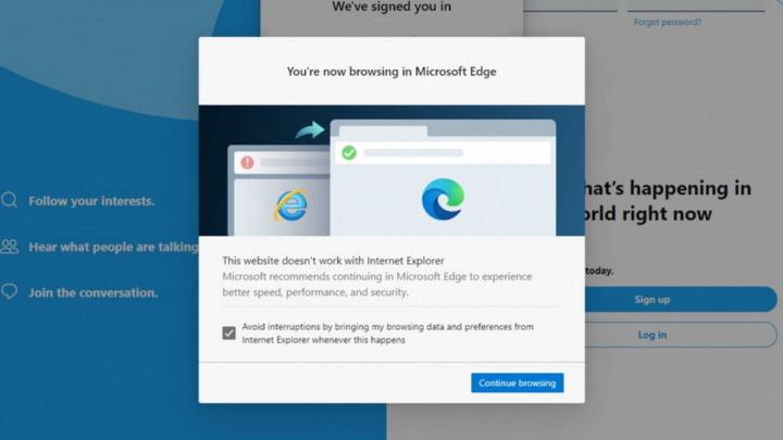 Internet Explorer Edge browser Microsoft sites