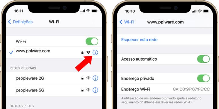 Imagem que mostra como ativar endereço WiFi privado