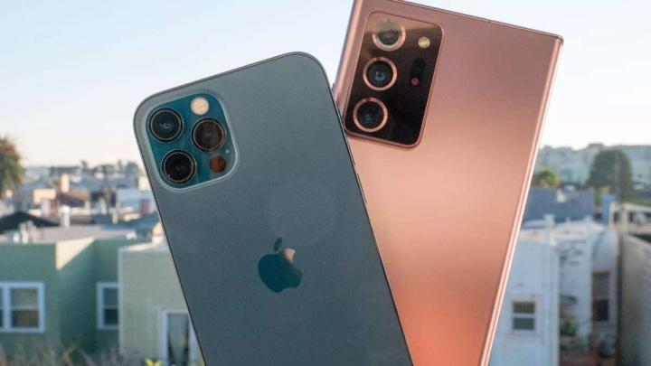 iPhone 12 Galaxy Note 20 smartphones teste desempenho