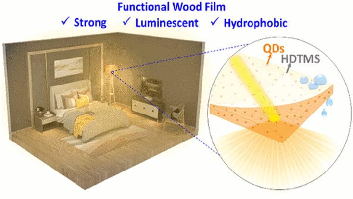 Película de madeira luminescente
