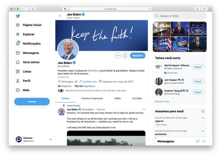 Joe Biden tem conta do Twitter