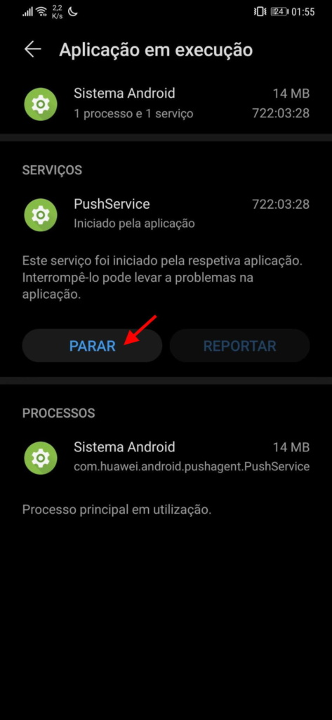 processos Android smartphone correr apps