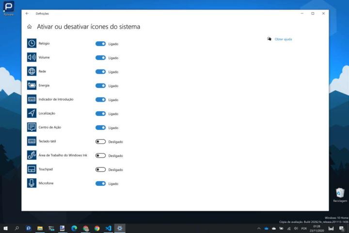 Windows 10 ícones notificação área opções