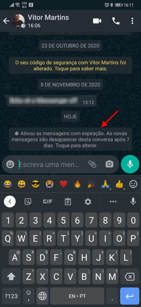 WhatsApp mensagens autodestroem ativar conversa