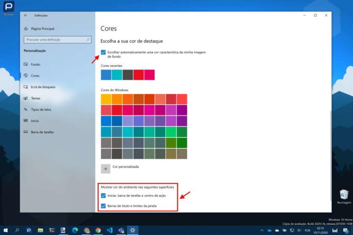 Windows 10 cores personalizar Microsoft utilizador