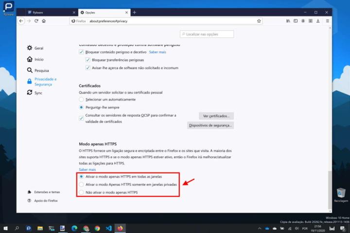Firefox HTTPS Mozilla segurança Internet