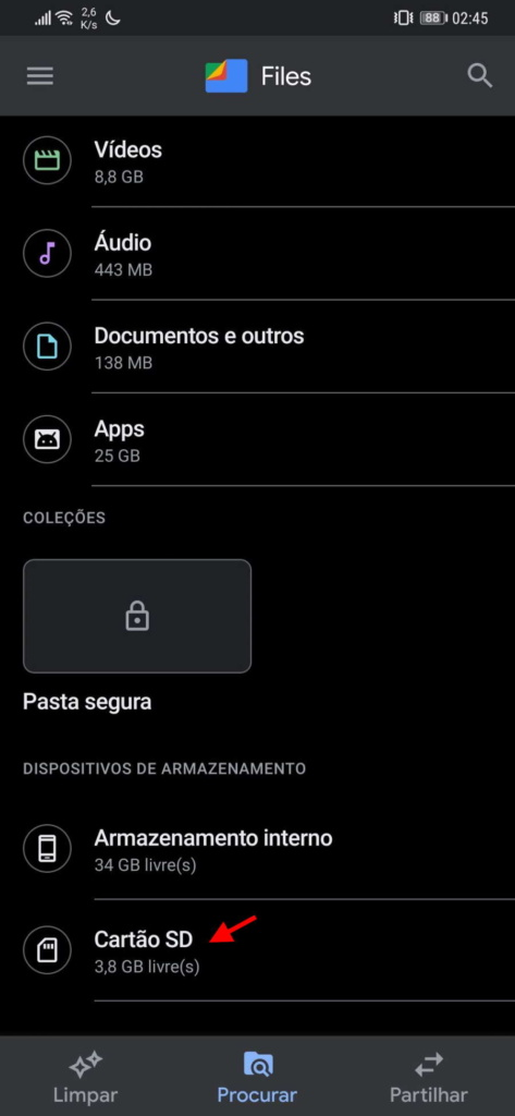 formatar SD USB Android pen