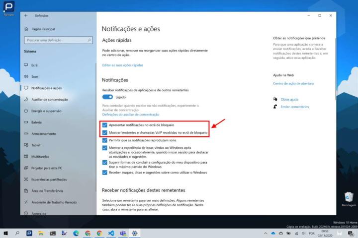 notificações ecrã bloqueio Windows 10 remover