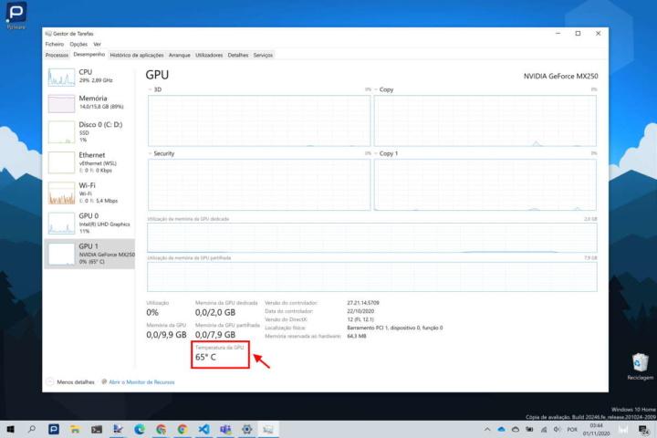 Windows 10 temperatura placa gráfica GPU
