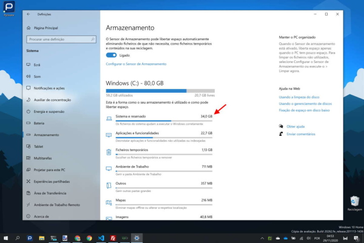 Windows 10 espaço reservar Microsoft reserva