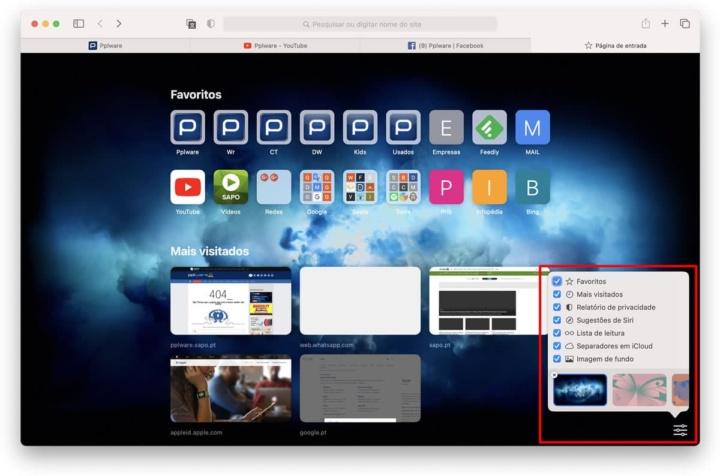 Imagem das novas opções no Safari