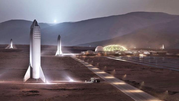 Ilustração da nave da SpaceX em Marte