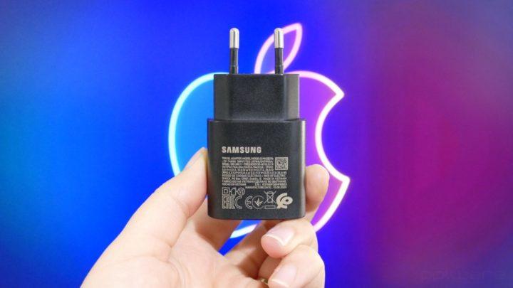 Imagem carregador Samsung e logo da Apple