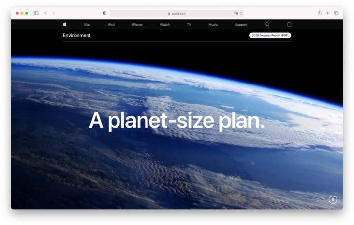 Imagem do site da Apple sobre o meio ambiente