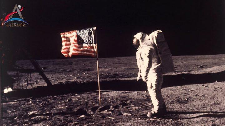 Imagem primeiro homem na Lua. Artemis levará a 1ª mulher