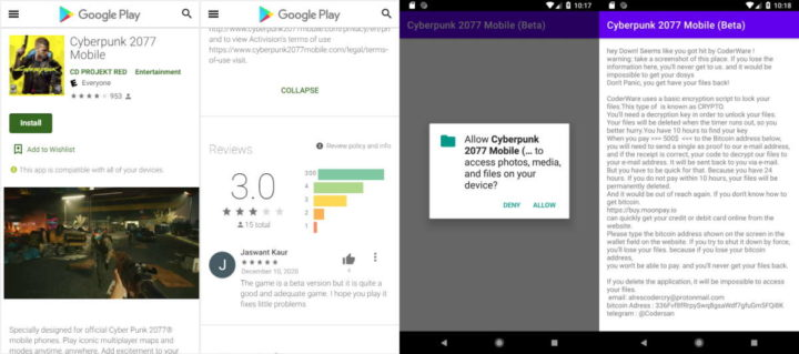 CyberPunk 2077 Android ransomware game Google