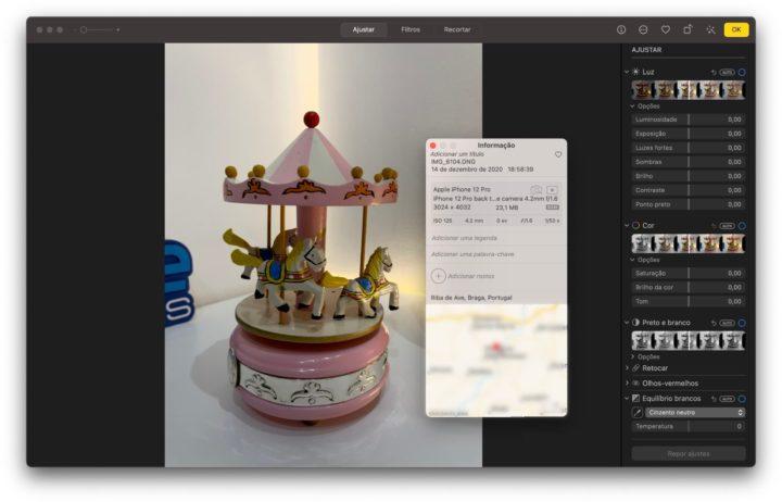 Imagem app Fotografia no macOS Big Sur com suporte RAW DNG