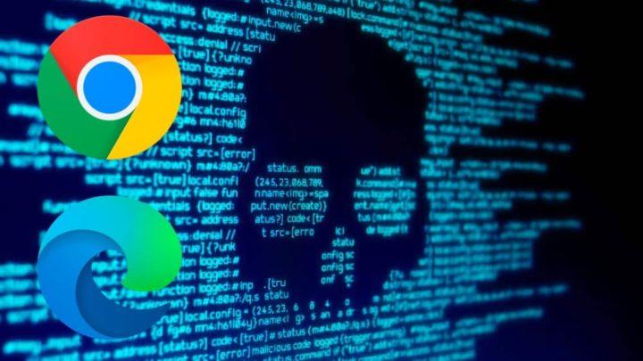 Imagem navegador Chrome e Edge coim extensões com malware