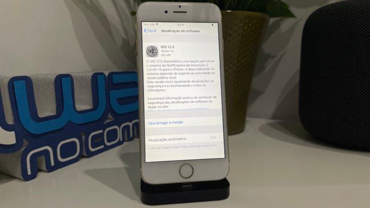 Imagem do iPhone 6 com iOS 12.5 com API Notificação Exposição COVID-19