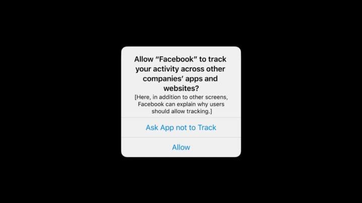 Imagem do alerta para o rastreio de privacidade da Apple no iOS 14