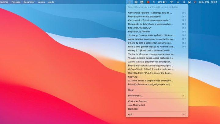 Imagem da app CopyClip no macOS Big Sur
