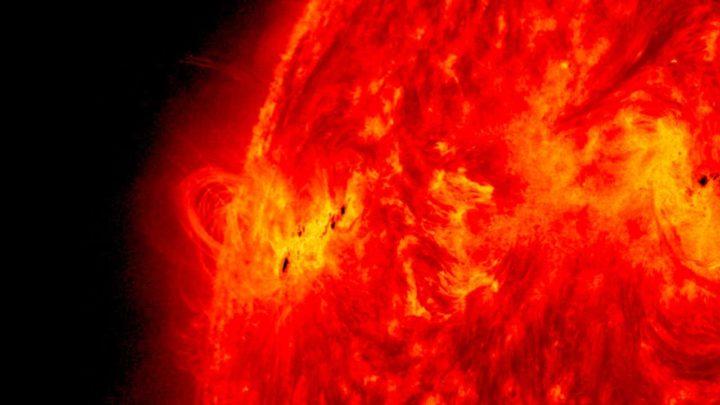 Imagem de manchas solares no Sol