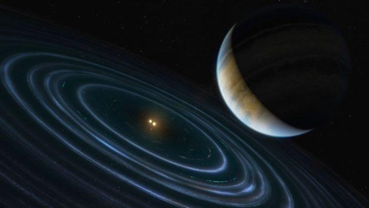 Ilustração de um exoplaneta com duas estrelas