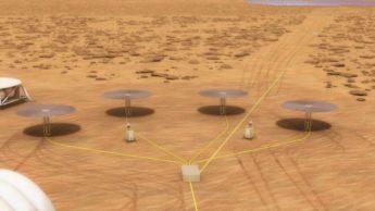 Ilustração Central Nuclear na Lua e em Marte