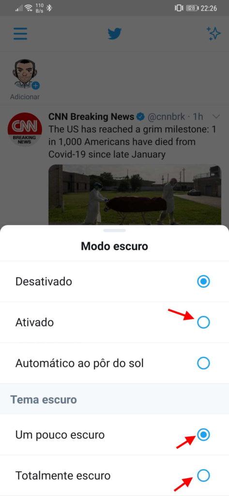 Twitter Android dark mode interface modo