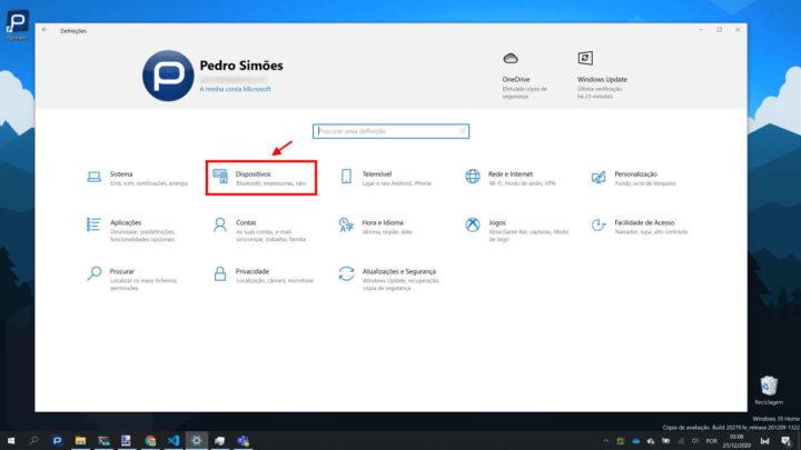 Windows 10 touchpad rato configuração mobilidade