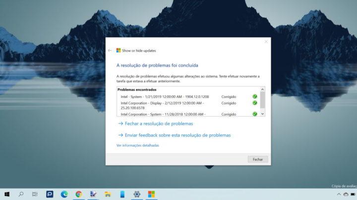 drivers atualizações Windows 10 Microsoft esconder