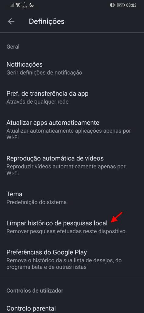 play store android pesquisas entradas limpar