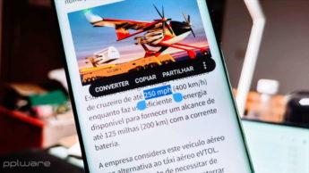 Google Android seleção texto unidades