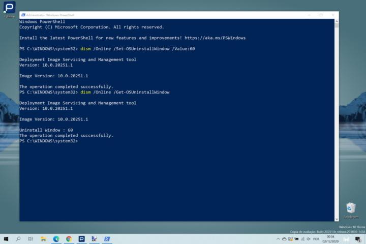 Windows 10 atualização comando Microsoft reverter